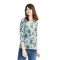 Oasis - Multi blue floral printed velvet sweat