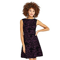 Oasis - Purple flocked floral mini skater dress