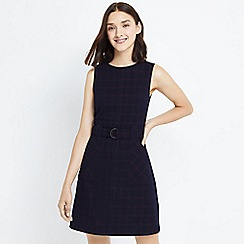 Oasis - Navy shadow check shift dress