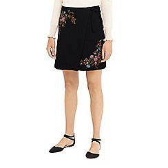 Oasis - Multi black 'Rosetti' print embroidered mini skirt