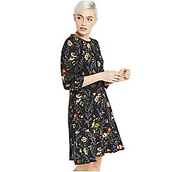 Oasis - Multi black floral 'Rosetti' print long sleeves skater dress