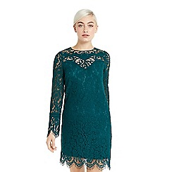 Oasis - Teal long sleeves lace mini shift dress