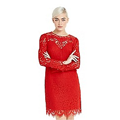 Oasis - Red lace trim long sleeve shift dress
