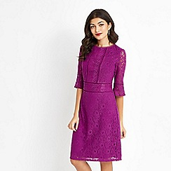 Oasis - Pink long kick sleeves lace dress