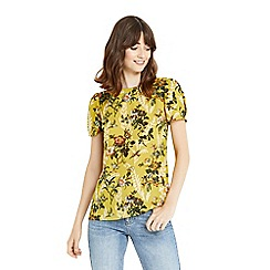 Oasis - Multi yellow 'Rosetti' print 40s sleeves formal t-shirt