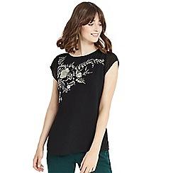 Oasis - Black kimono embroidered tieback t-shirt