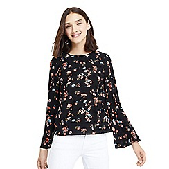 Oasis - Multi black flocked 'Rosetti' flower print flute sleeves top