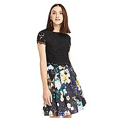 Oasis - Black multi floral 2 in 1 digital pattern dress