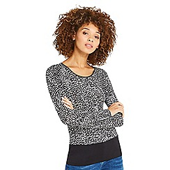 Oasis - Black abstract animal boat neck top
