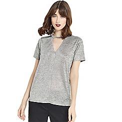 Oasis - Silver foil choker t-shirt