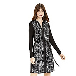 Oasis - Black and white animal printed shirt dress