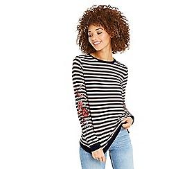 Oasis - Stripe embroidered sweatshirt