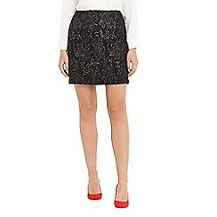 Oasis - Black baroque foil popcorn mini skirt