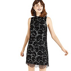 Oasis - Black metallic lace shift dress