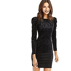 Oasis - Black embossed puff sleeves dress