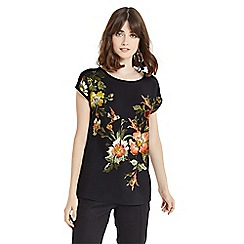 Oasis - Black 'Rosetti' print woven front top