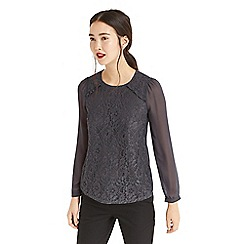 Oasis - Grey lace front blouse