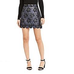 Oasis - Multi blue NTU lace jacquard mini skirt
