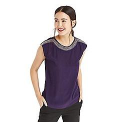 Oasis - Purple embellished neck t-shirt