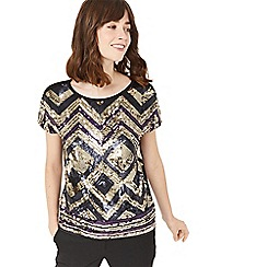 Oasis - Metallic and purple deco sequin tee