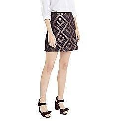 Oasis - Purple and gold 'Rene' jacquard mini skirt