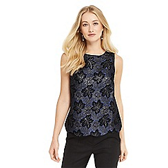 Oasis - Black and blue jacquard scallop shell top