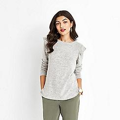 Oasis - Grey ruffle shoulder cosy top