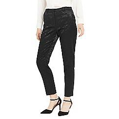 Oasis - Black bamboo print jacquard trousers
