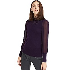 Oasis - Burgundy lace sheer sleeve knit top