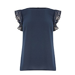 Oasis - Navy frill sleeve button back top