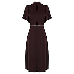 Oasis - Burgundy satin ladder trim skater midi dress