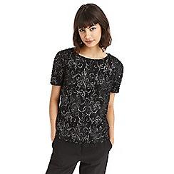 Oasis - Black baroque popcorn t-shirt
