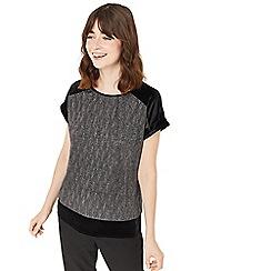 Oasis - Silver velvet roll sleeves crinkle t-shirt