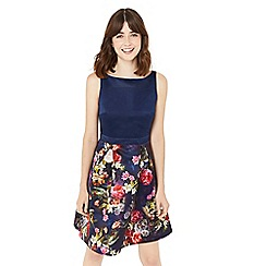 Oasis - Multi winter floral print 2 in 1 skater dress