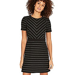 Oasis - Black and grey cutabout stripe dress