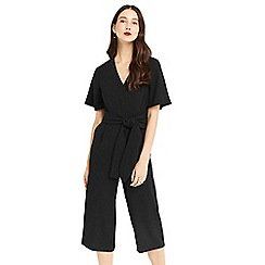 Oasis - Black v neck tie front jumpsuit