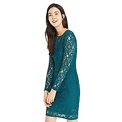 Oasis - Teal lace puff sleeve dress