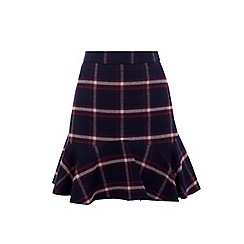 Oasis - Multi check 'Merlot' flippy skirt