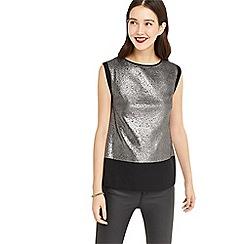 Oasis - Silver metallic textured t-shirt