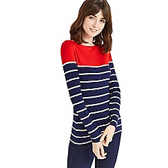 Oasis - Navy and red bretton envelope neck top