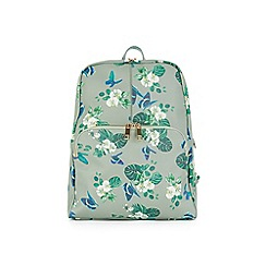 Oasis - Green multi print floral and butterfly 'Betty' backpack