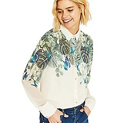 Oasis - Multi white and green 'Calathea' placement shirt