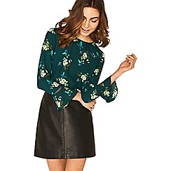 Oasis - Multi green tropical butterfly print flute sleeve top