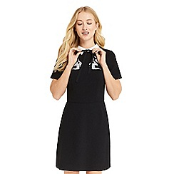 Oasis - Black embroidered bird and lace shift dress