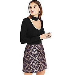 Oasis - Black choker knit top