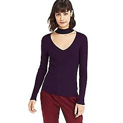 Oasis - Purple choker knit top