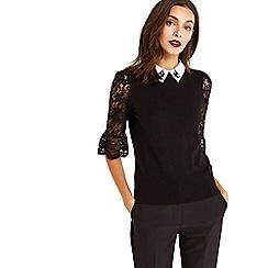 Oasis - Black NUT lace 'Annie' collar knit