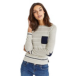 Oasis - Grey cosy stripe pocket knit top