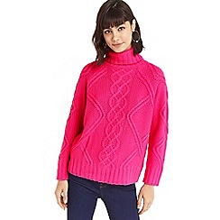 Oasis - Hot pink 'Fair Isle' cable knit jumper