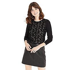 Oasis - Black NTU flocked lace jumper